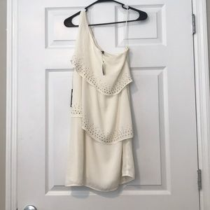 Express one strap cream colored dress